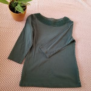 Croft and Barrow 3/4 Sleeve Army Green Top Size S